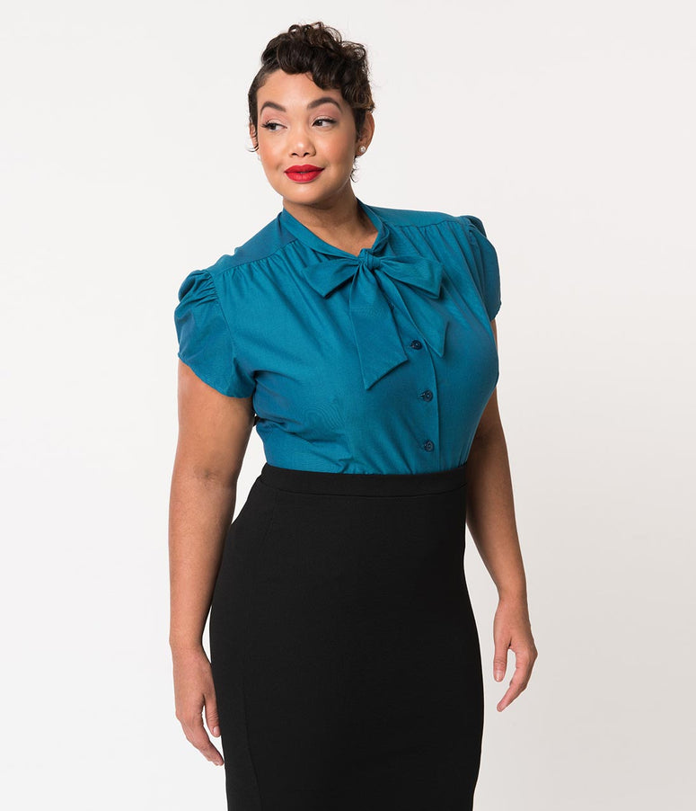 Plus Size Retro Style Sapphire Blue Cap Sleeve Estelle Blouse