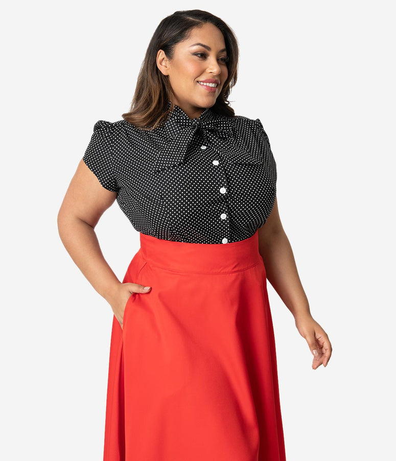 Plus Size Retro Black & White Pin Dot Cap Sleeve Estelle Blouse