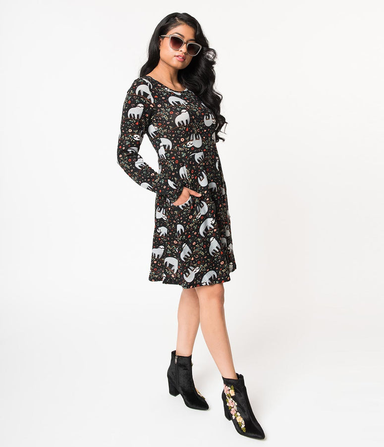 Black & Sweet Sloth Print Long Sleeve Sweater Knit Flare Dress
