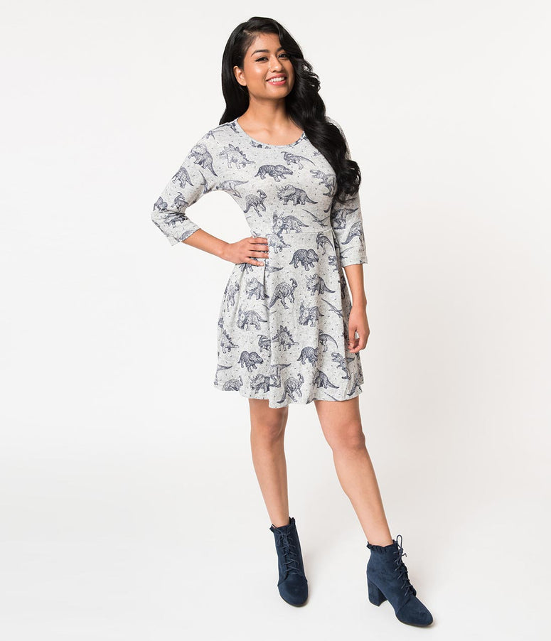 Grey Dinosaur Print Sleeved Sweater Knit Fit & Flare Dress