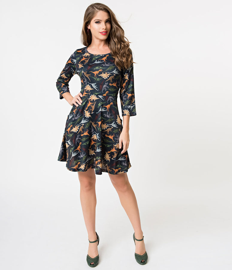 Navy & Colorful Dinosaurs Print Cotton Knit Fit & Flare Dress