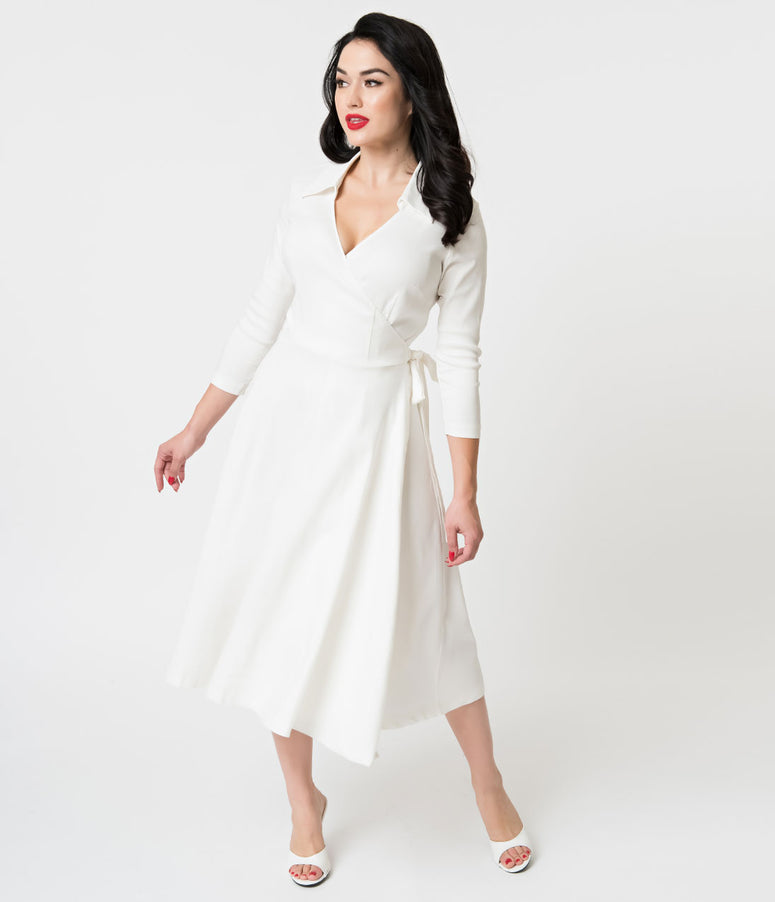 Unique Vintage 1950s Style White Stretch Sleeved Anna Wrap Dress