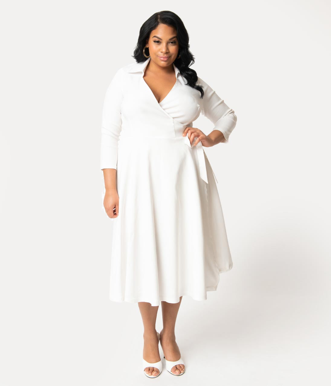 1950s Fashion History: Women's Clothing Unique Vintage Plus Size 1950S Style White Stretch Sleeved Anna Wrap Dress $74.00 AT vintagedancer.com