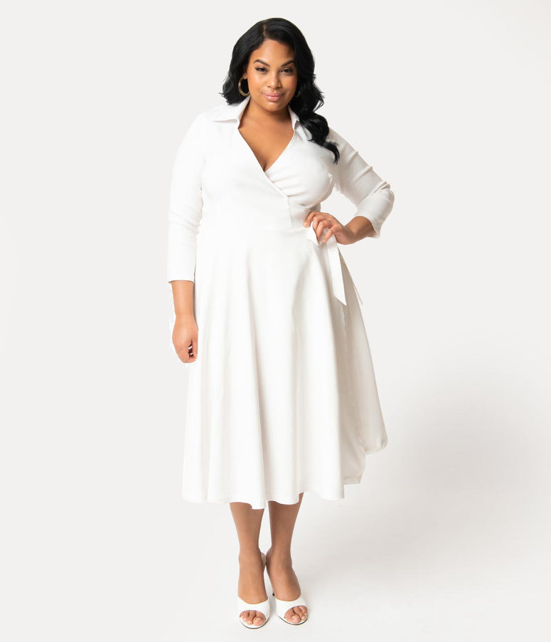 Unique Vintage Plus Size 1950s Style White Stretch Sleeved Anna Wrap Dress