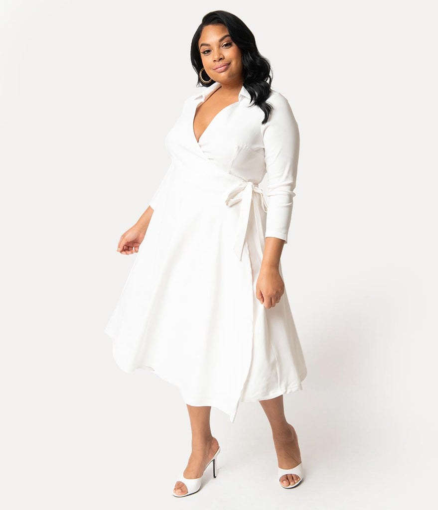 Unique Vintage Plus Size 1950s Style Ivory White Stretch Sleeved Anna Wrap  Dress