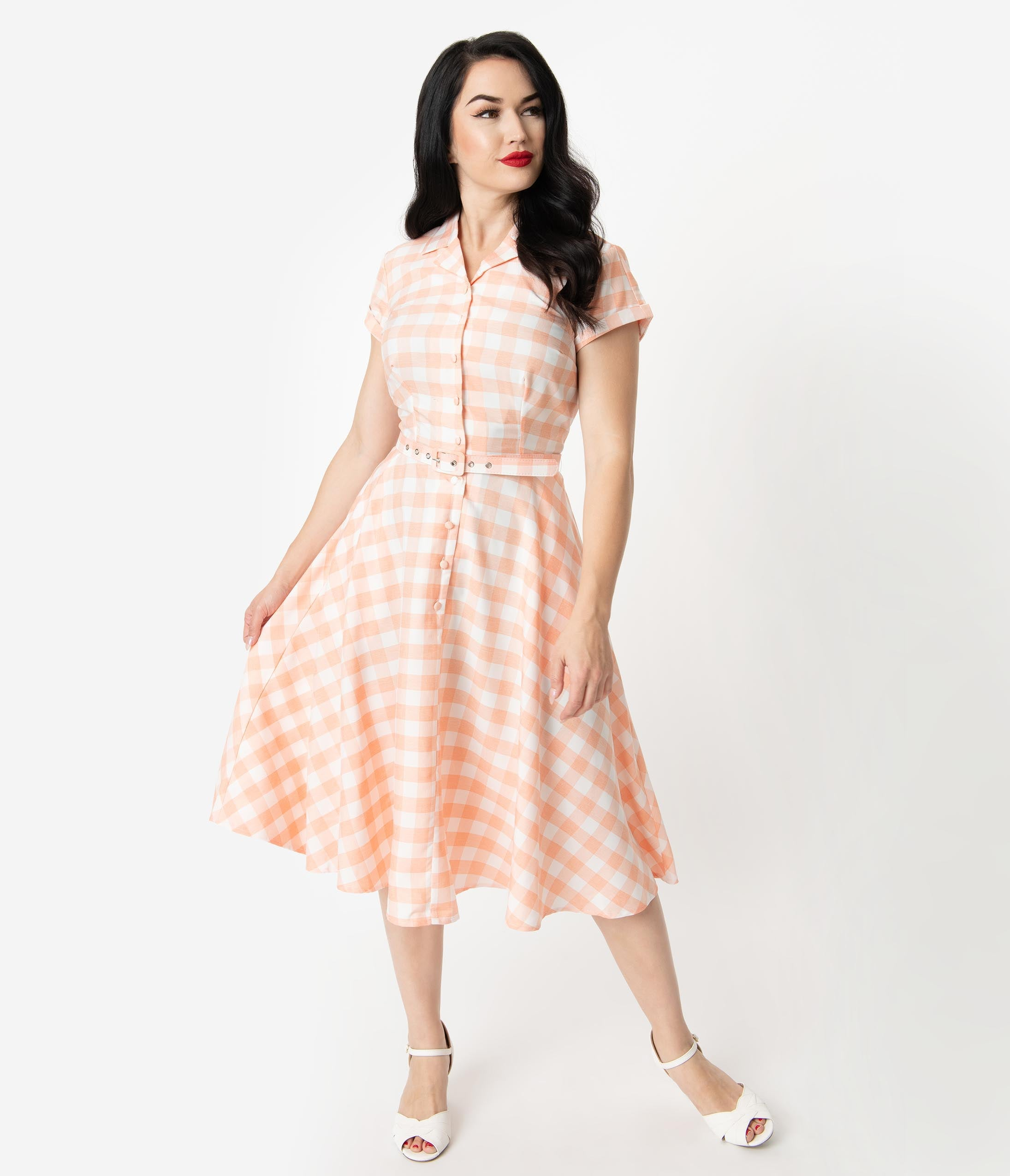 Fifties Dresses : 1950s Style Swing to Wiggle Dresses Unique Vintage 1950S Style Peach  White Gingham Alexis Swing Dress $98.00 AT vintagedancer.com