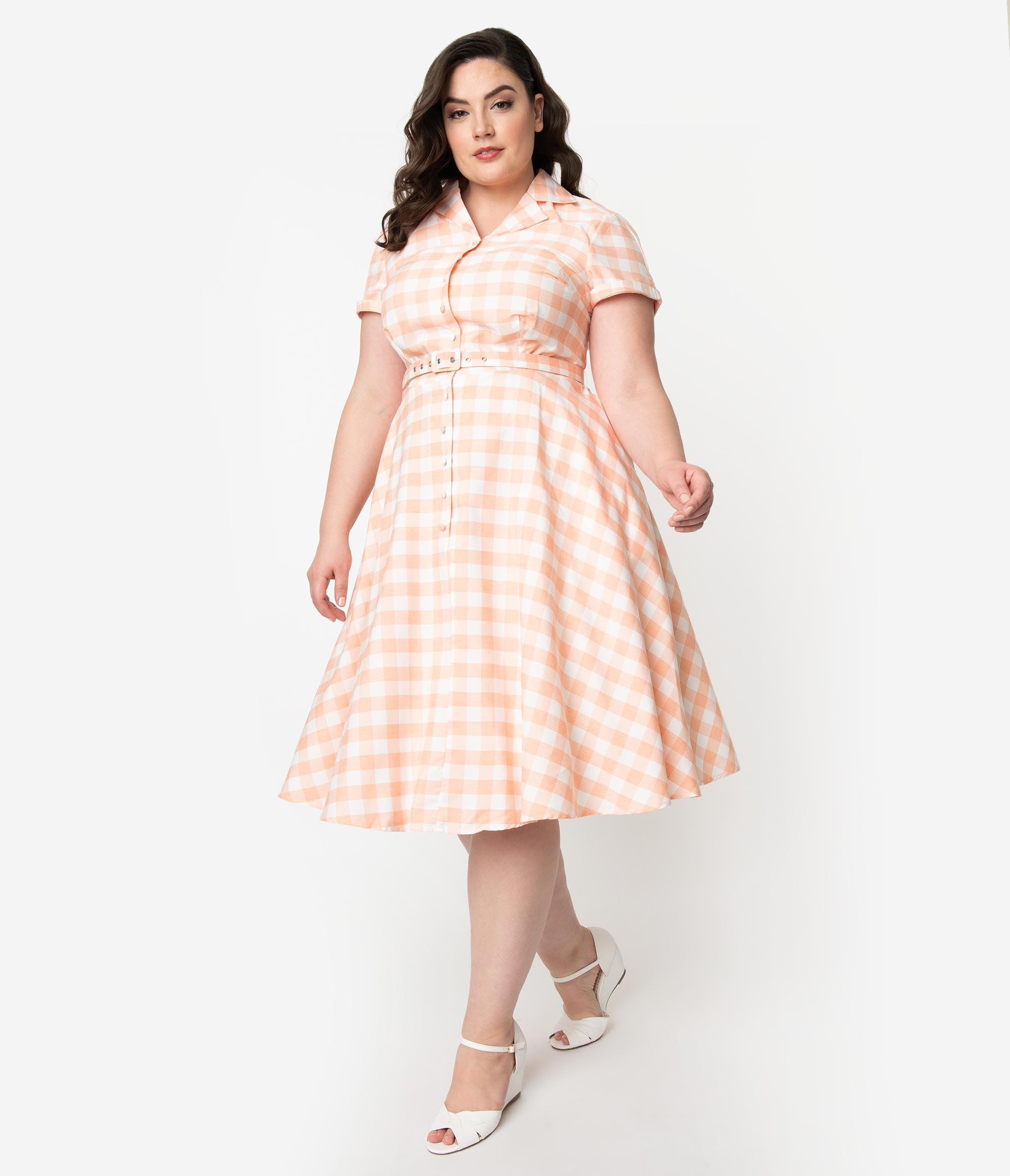 1950s Dresses, 50s Dresses | 1950s Style Dresses Unique Vintage Plus Size 1950S Style Peach  White Gingham Alexis Swing Dress $74.00 AT vintagedancer.com