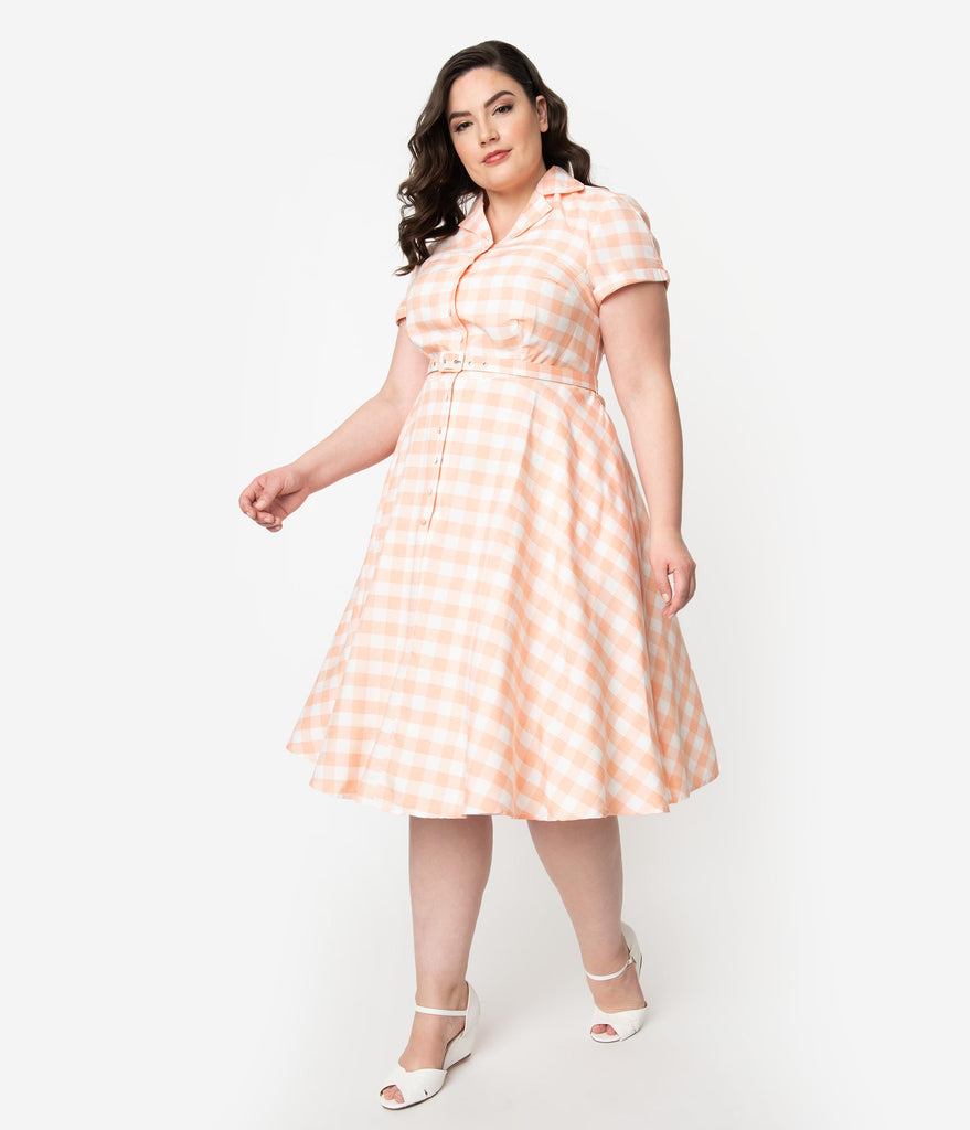 Unique Vintage Plus Size 1950s Style Peach & White Gingham Alexis Swing  Dress