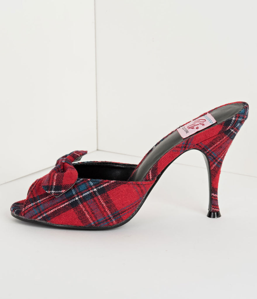 Retro Style Red Plaid Fabric Peep Toe Bow Heels