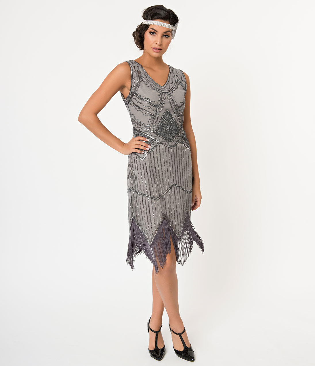 1920s Evening Dresses & Formal Gowns Unique Vintage 1920S Dark Grey Beaded Sequin Juliette Fringe Flapper Dress $38.00 AT vintagedancer.com