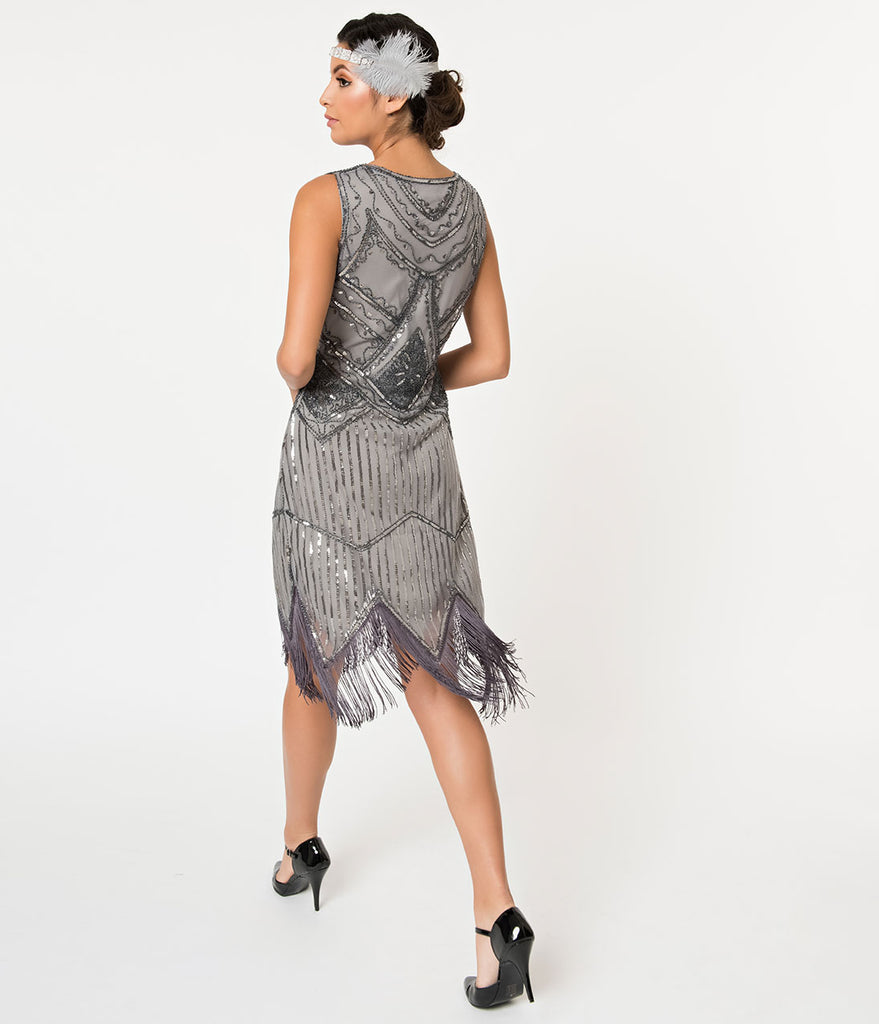 Unique Vintage 1920s Dark Grey Beaded Sequin Juliette Fringe Flapper Dress