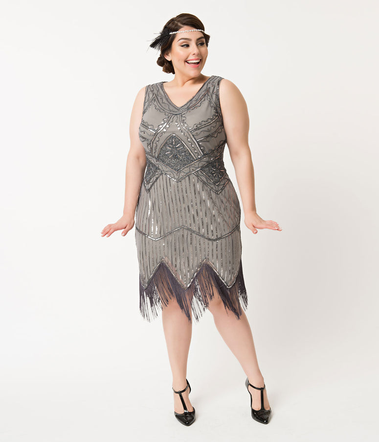 Unique Vintage Plus Size 1920s Sequin Juliette Fringe Flapper New Year's Eve Dress