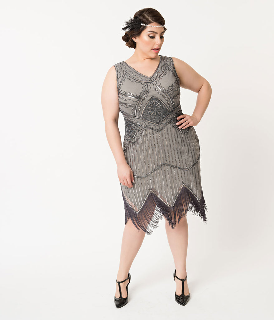 Unique Vintage Plus Size 1920s Dark Grey Beaded Sequin Juliette Fringe Flapper Dress