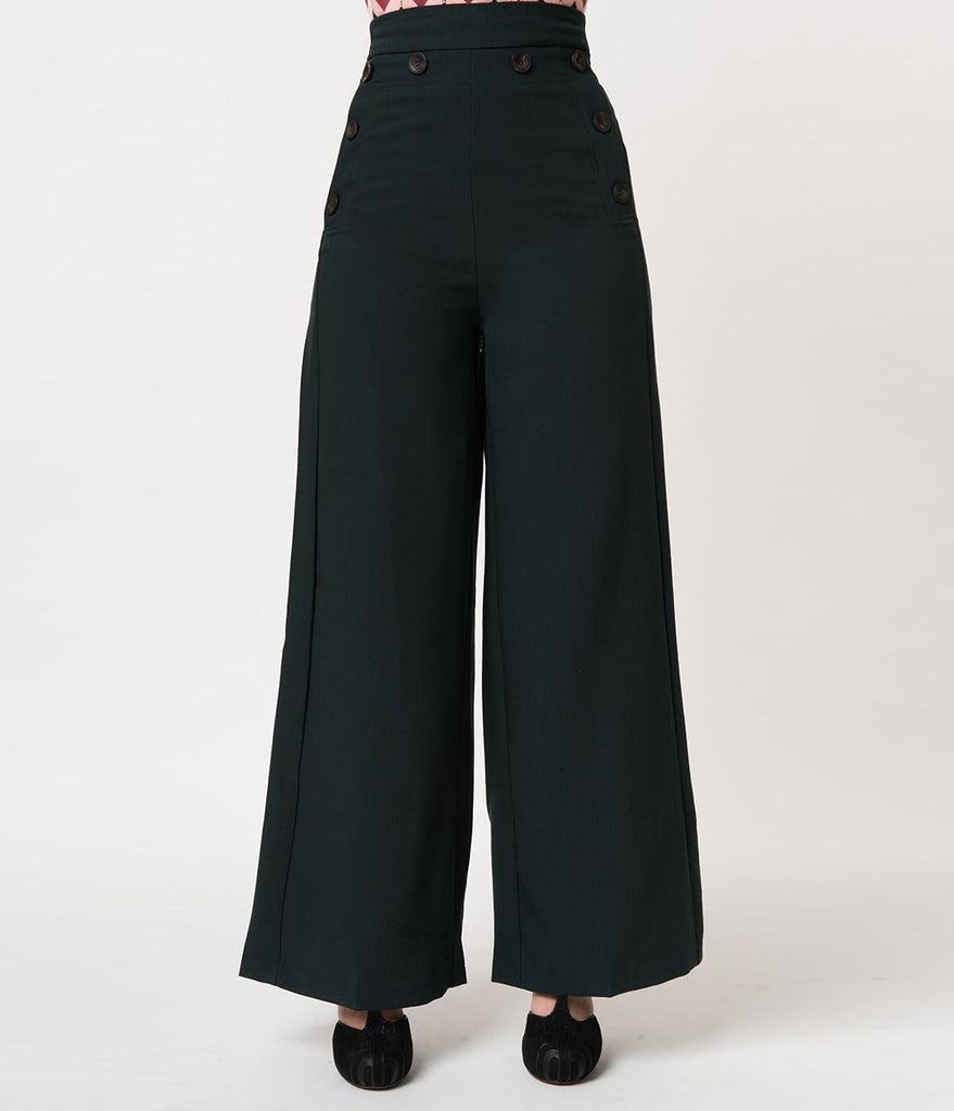 feaeee36129e7 Vintage Style Deep Army Green High Waist Wide Leg Pants – Unique Vintage