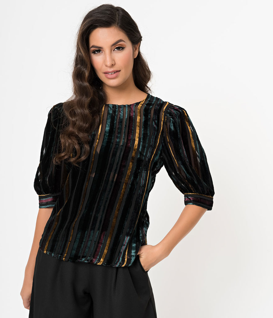 Emerald & Black Velvet Sheer Striped Half Sleeve Blouse