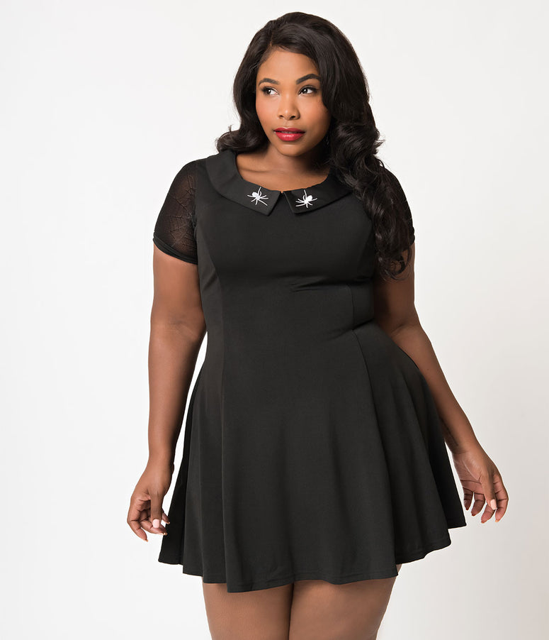 Banned Plus Size Black Webb Spider Short Sleeve Flare Dress
