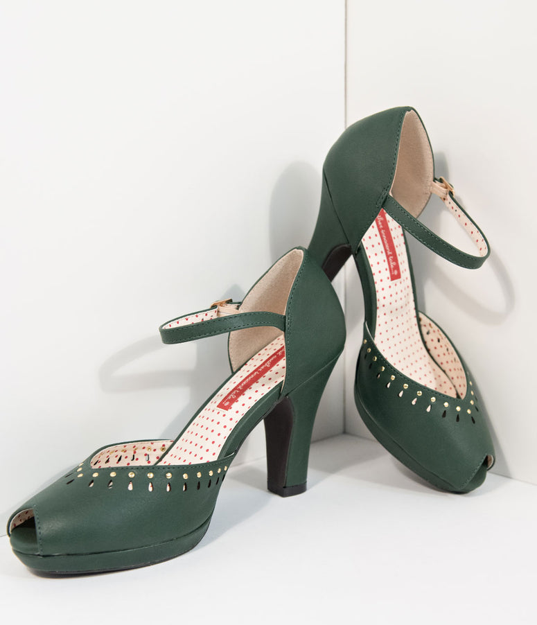 B.A.I.T. 1940s Style Green Leatherette Peep Toe Letty Heels