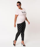 Barbie x Unique Vintage Plus Size Black Barbie Logo Stretch Leggings