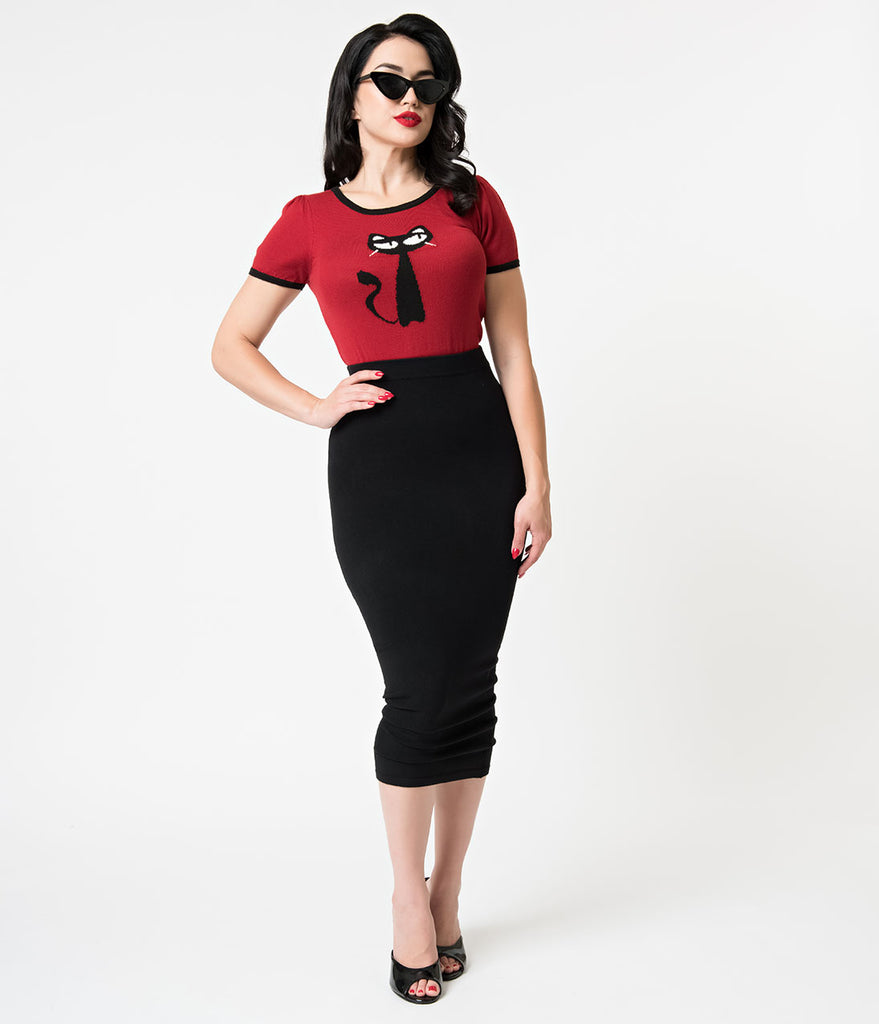 Retro Style Black Knit High Waisted Midi Pencil Skirt