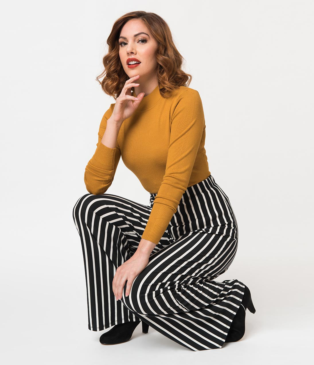 Vintage High Waisted Trousers, Sailor Pants, Jeans Retro Style Black  White Stripe Stretch Knit Palazzo Pant $42.00 AT vintagedancer.com