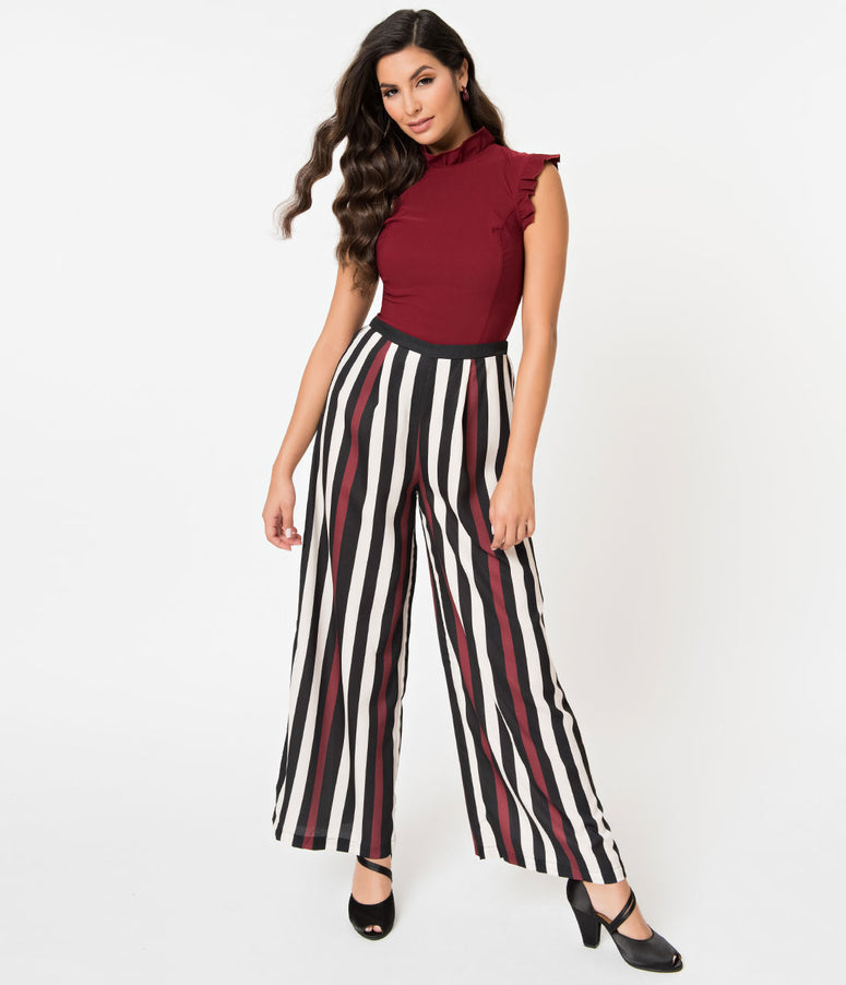 Retro Style Black, Ivory, & Red Striped Wide Leg High Waisted Pants