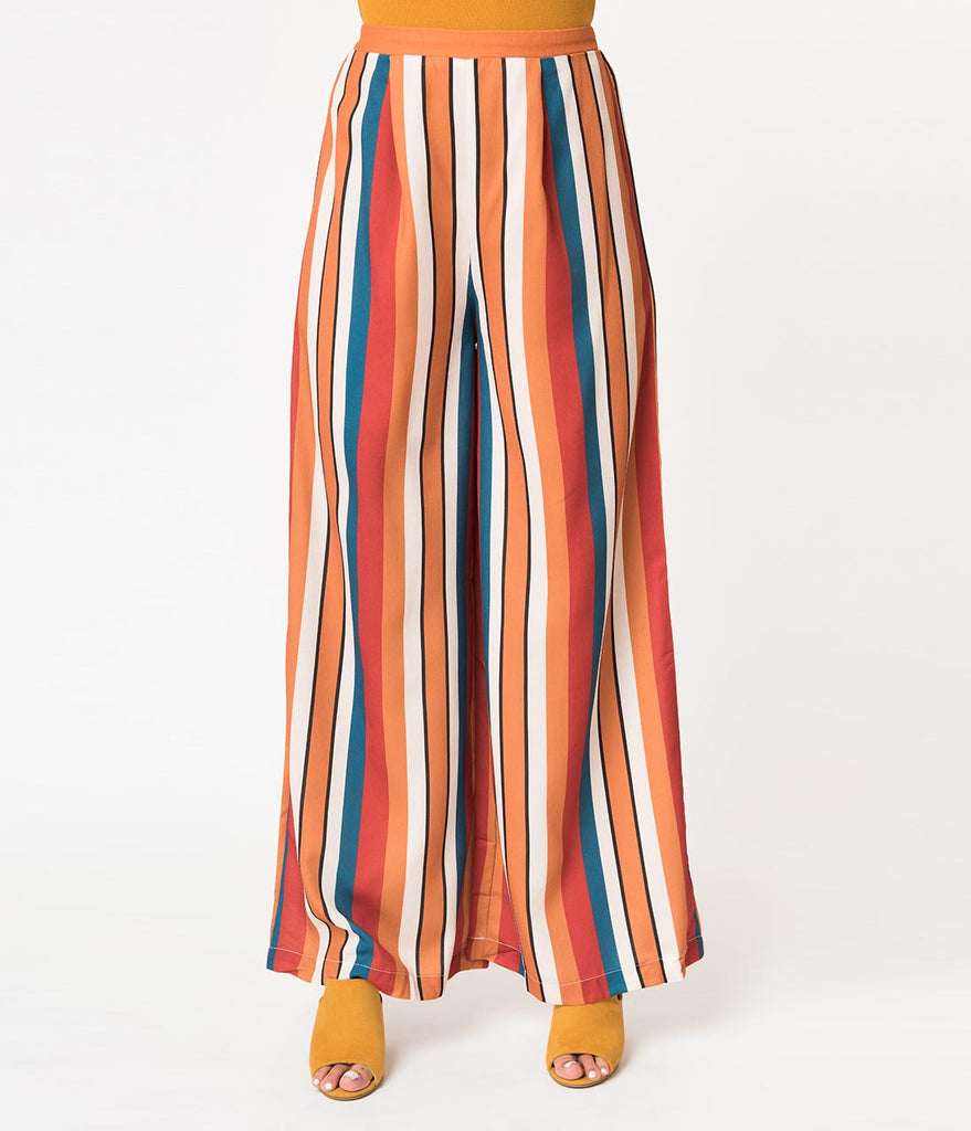 Retro Style Mustard, Ivory, & Red Striped Wide Leg High Waisted Pants