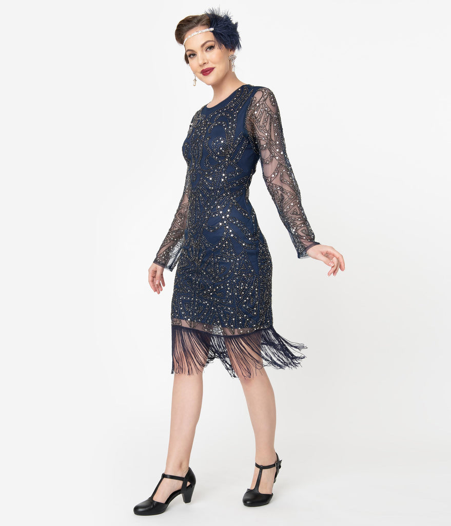 Unique Vintage 1920s Navy & Silver Sequin Long Sleeve Fringe Marchelle Cocktail Dress