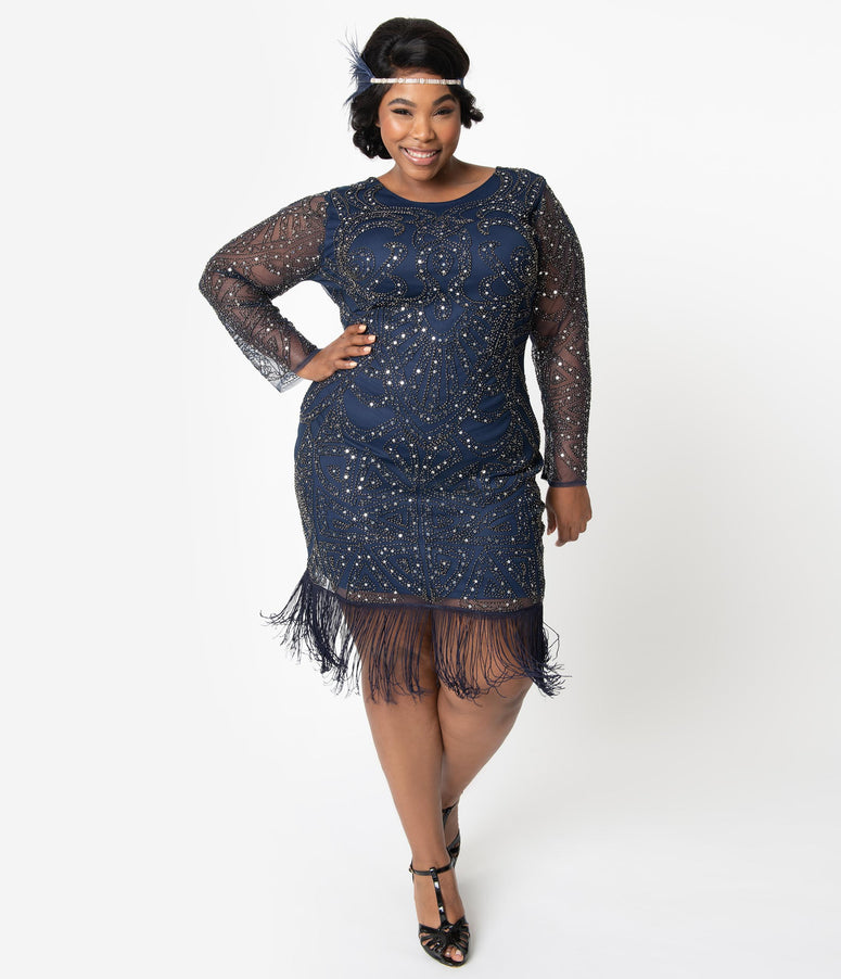 Unique Vintage Plus Size 1920s Navy & Silver Sequin Long Sleeve Fringe Marchelle Cocktail Dress