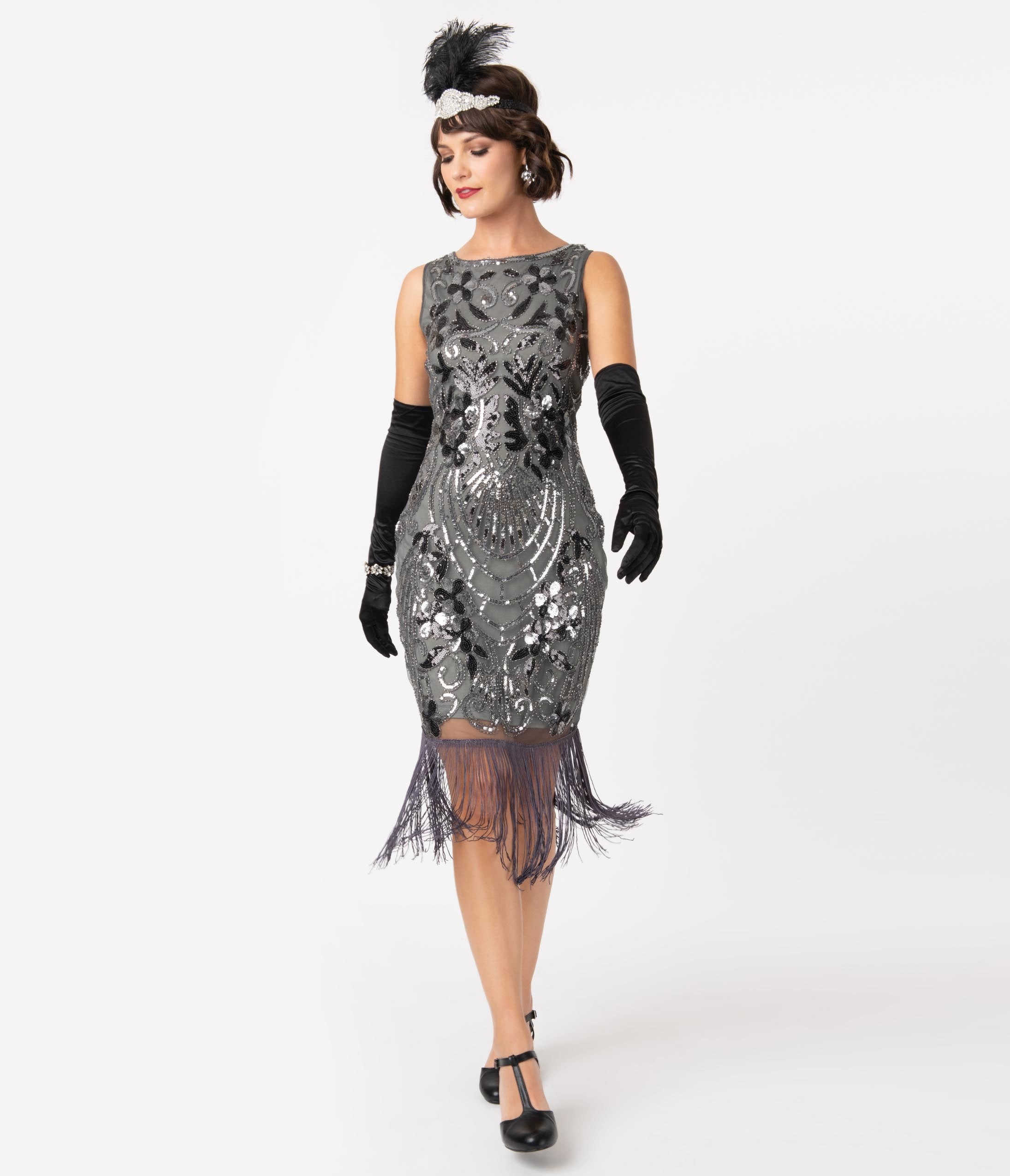 Best 1920s Prom Dresses – Great Gatsby Style Gowns Unique Vintage Charcoal Grey Sequin Alix Fringe Flapper Dress $98.00 AT vintagedancer.com