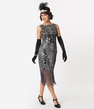 Unique Vintage Charcoal Grey Sequin Alix Fringe Flapper Dress