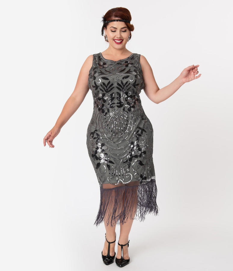 Unique Vintage Plus Size Charcoal Grey Sequin Alix Fringe Flapper Dress