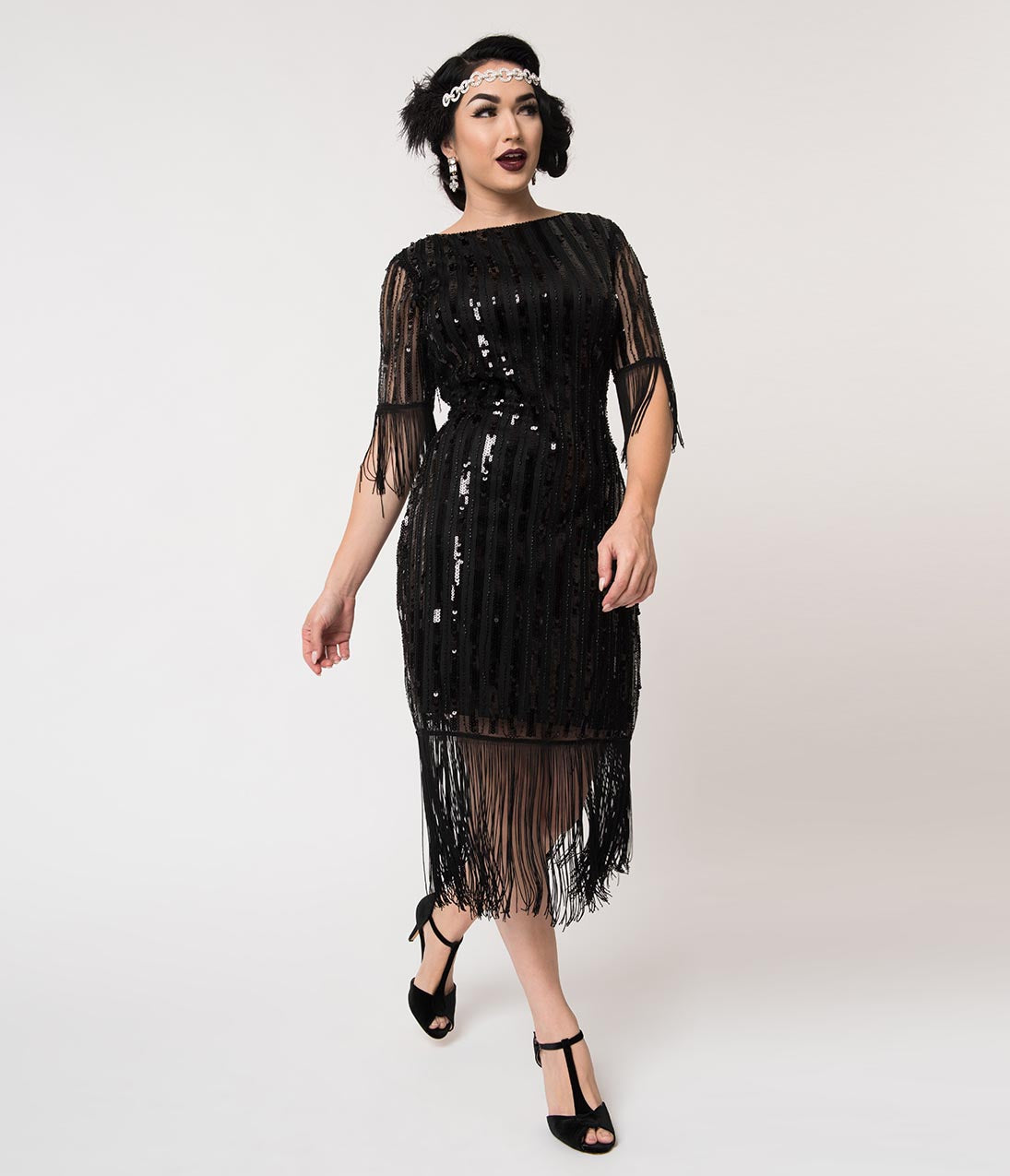 1920s Evening Dresses & Formal Gowns Unique Vintage Black Sequin Fringe Sleeve Marcy Flapper Dress $98.00 AT vintagedancer.com