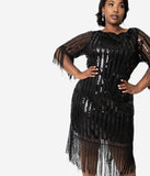 Unique Vintage Plus Size Black Sequin Fringe Sleeve Marcy Flapper Dress