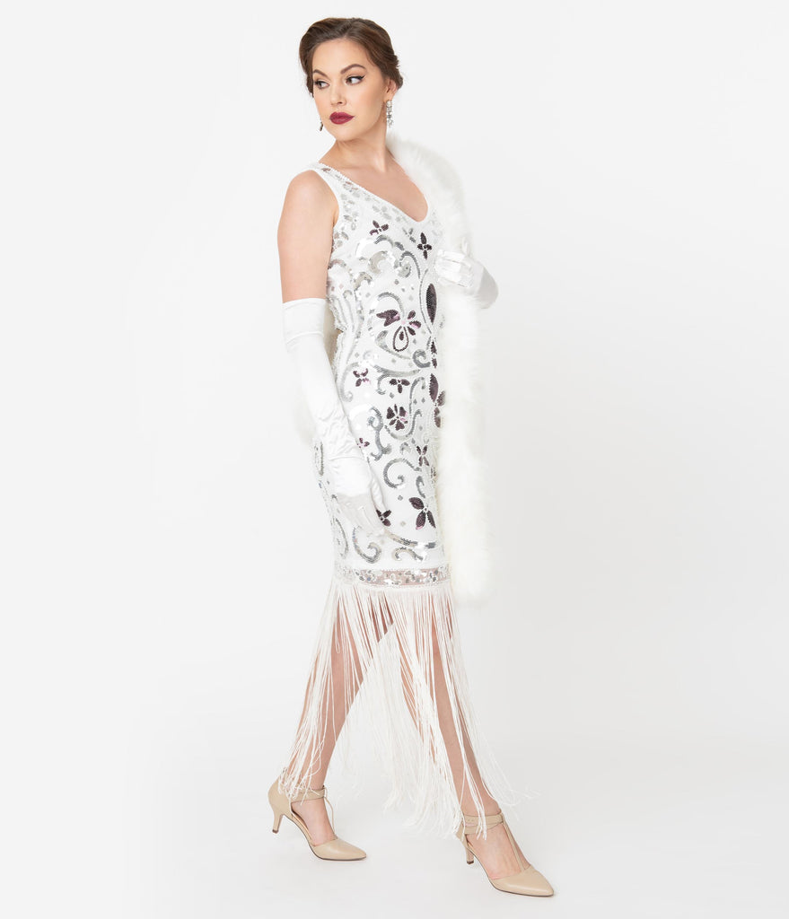 Unique Vintage White & Silver Sequin St. Michel Fringe Flapper Dress