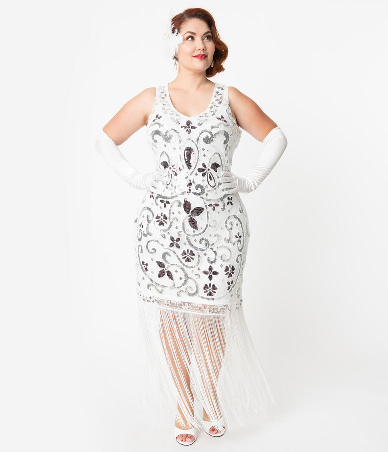 Unique Vintage Plus Size White & Silver Sequin St. Michel Fringe Flapper Dress