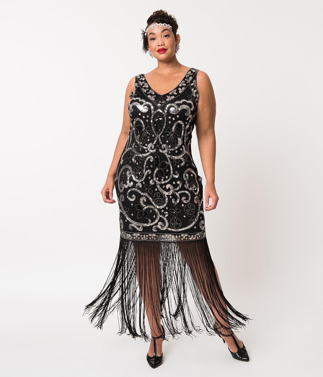 Downton Abbey Inspired Dresses Unique Vintage Plus Size Black  Silver Sequin St. Michel Fringe Flapper Dress $59.00 AT vintagedancer.com