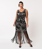 Unique Vintage Plus Size Black & Silver Sequin St. Michel Fringe Flapper Dress