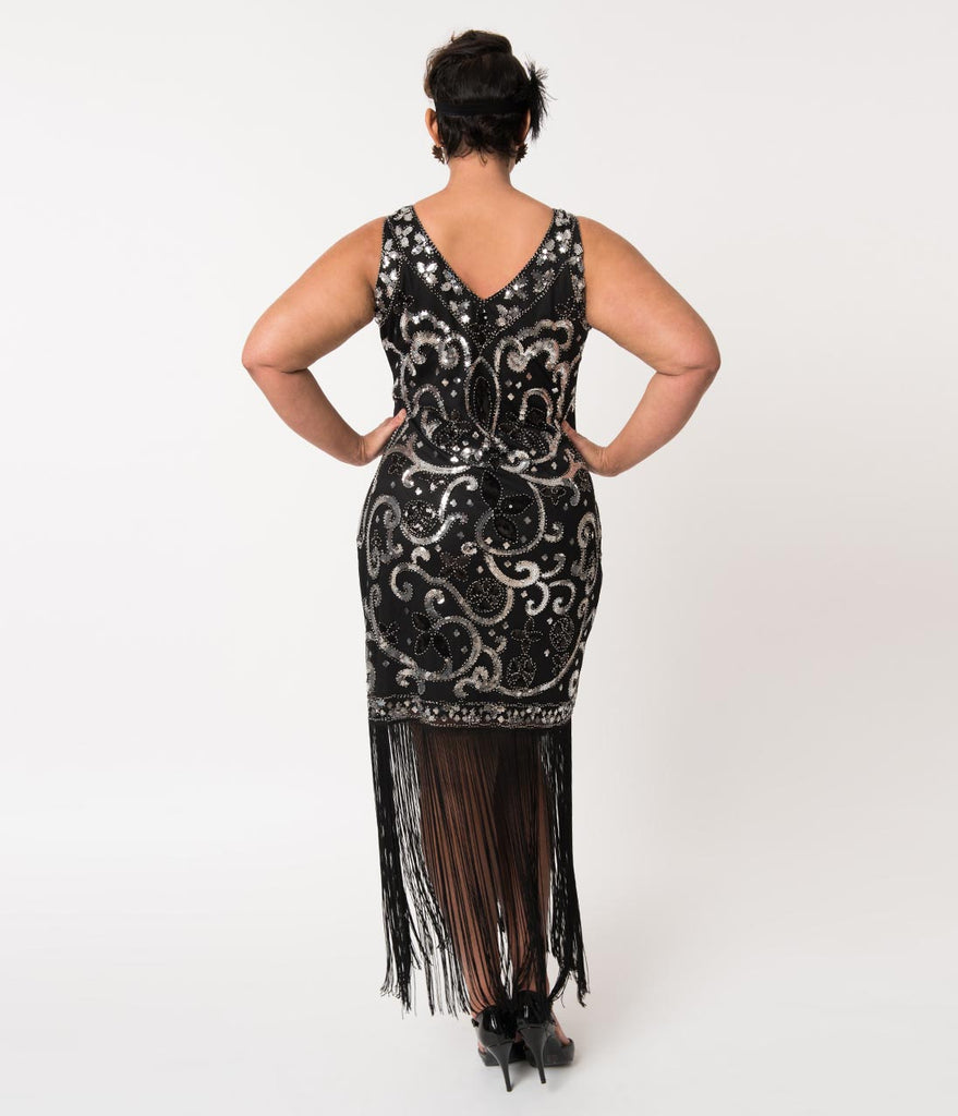 0f647e2c683 ... Unique Vintage Plus Size Black   Silver Sequin St. Michel Fringe  Flapper Dress ...