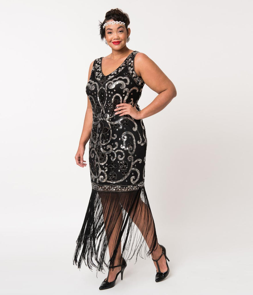 1f2a8990f87 ... Unique Vintage Plus Size Black   Silver Sequin St. Michel Fringe  Flapper Dress