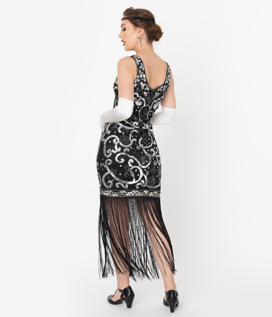 Unique Vintage Black & Silver Sequin St. Michel Fringe Flapper Dress