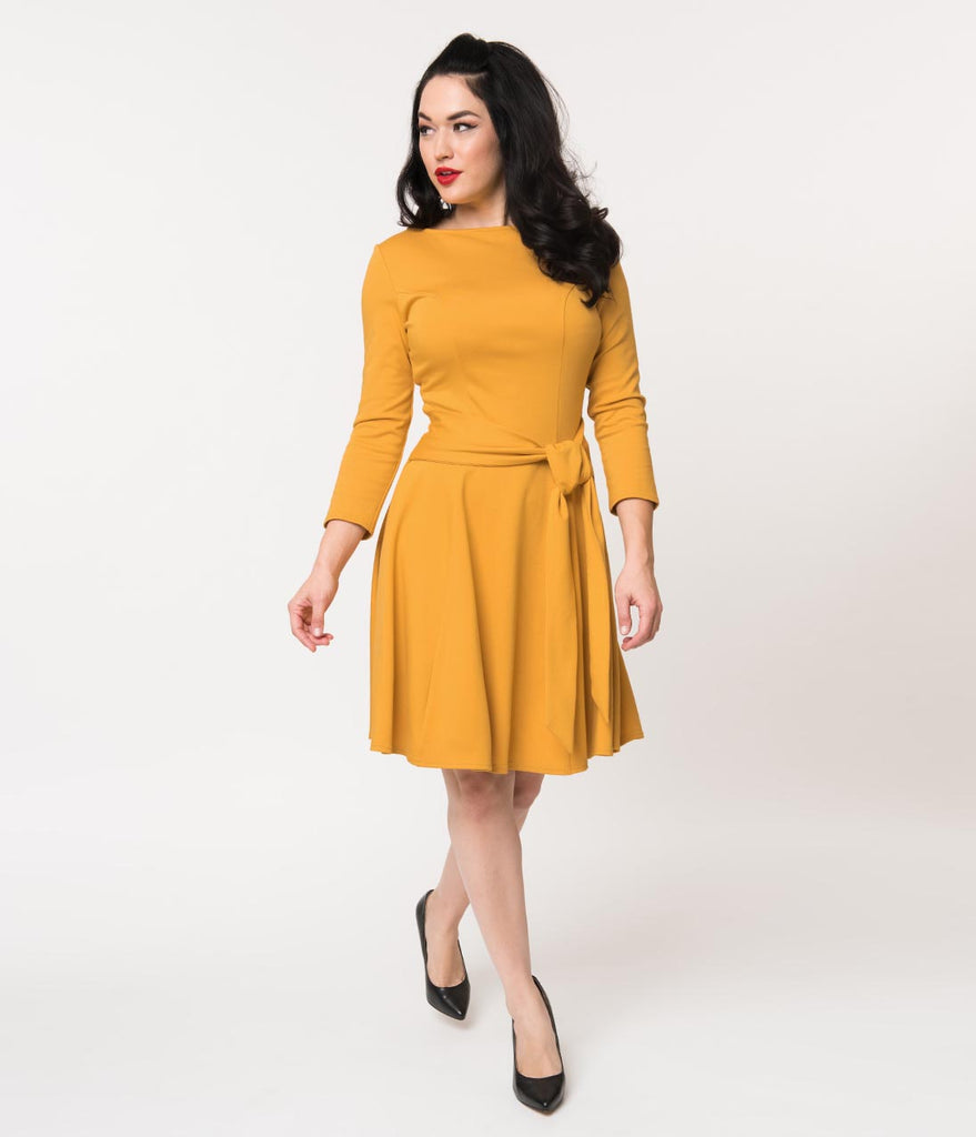 Unique Vintage Mustard Knit Tie Waist Bettie Fit & Flare Dress