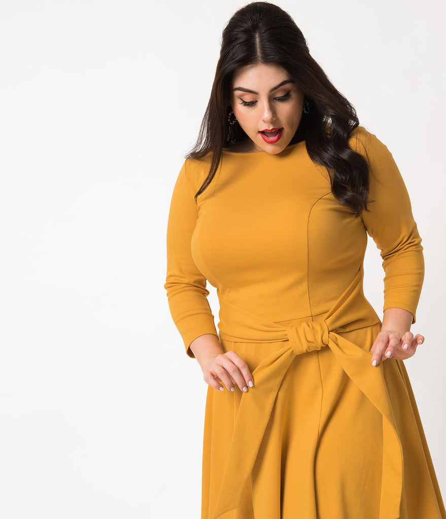 Unique Vintage Plus Size Mustard Knit Tie Waist Bettie Fit & Flare Dress
