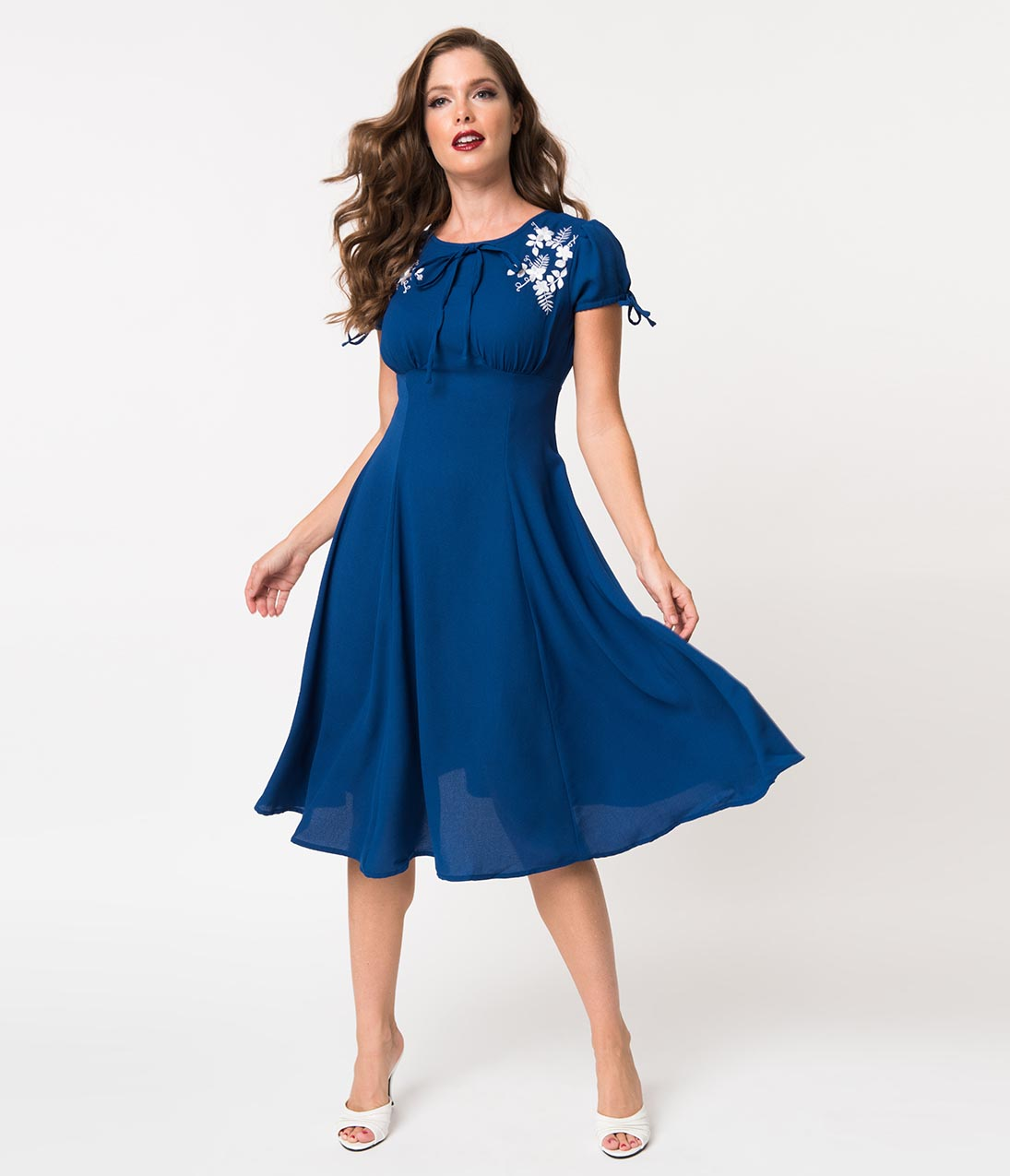 1940s Fashion Advice for Short Women 1940S Style Royal Blue Crepe  White Embroidered Floral Ava Swing Dress $78.00 AT vintagedancer.com