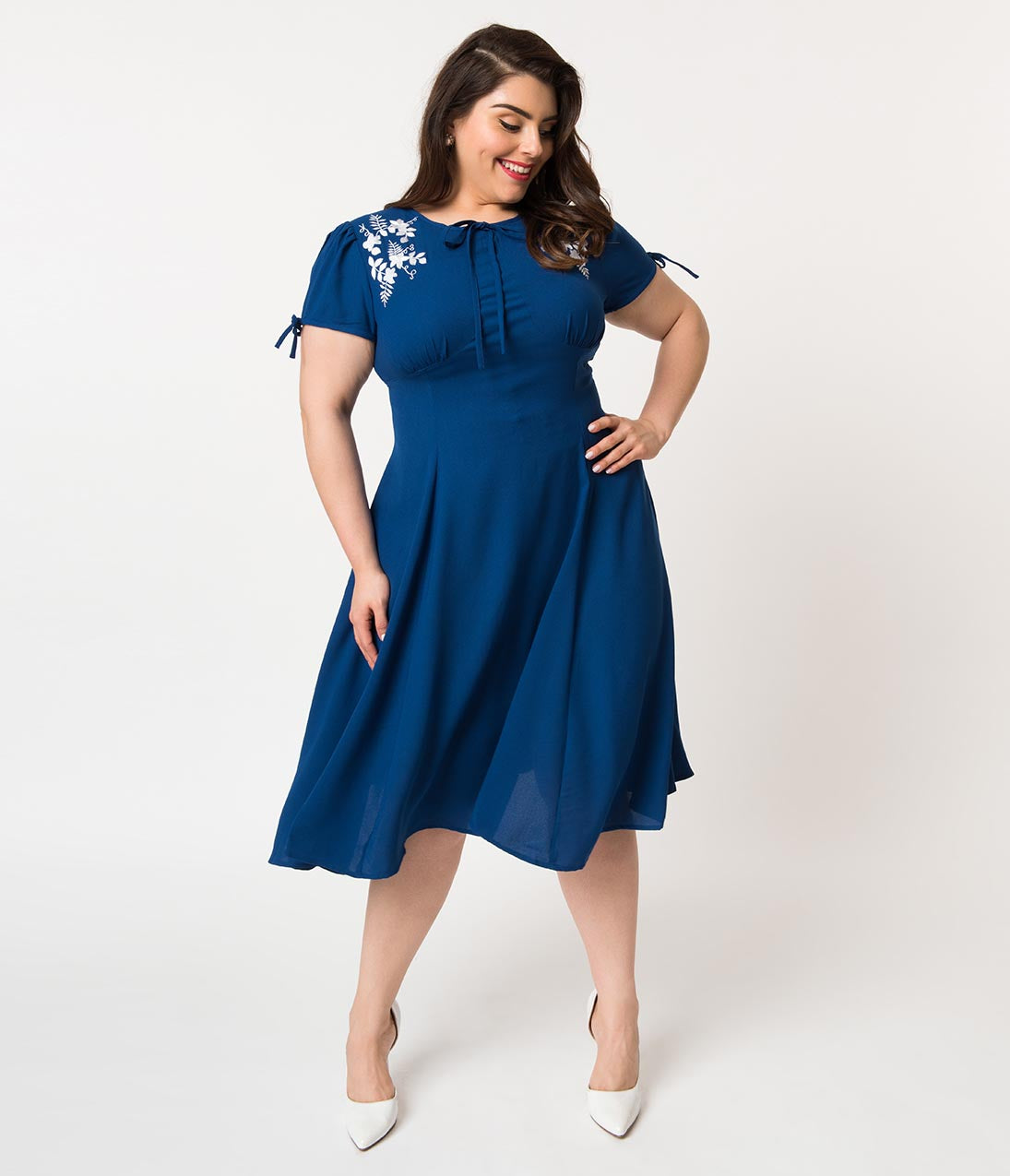 How to Wear 1940s Women's Fashion Plus Size 1940S Style Royal Blue Crepe  White Embroidered Floral Ava Swing Dress $78.00 AT vintagedancer.com