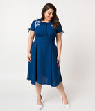 Plus Size 1940s Style Royal Blue & White Embroidered Floral Ava Swing Dress