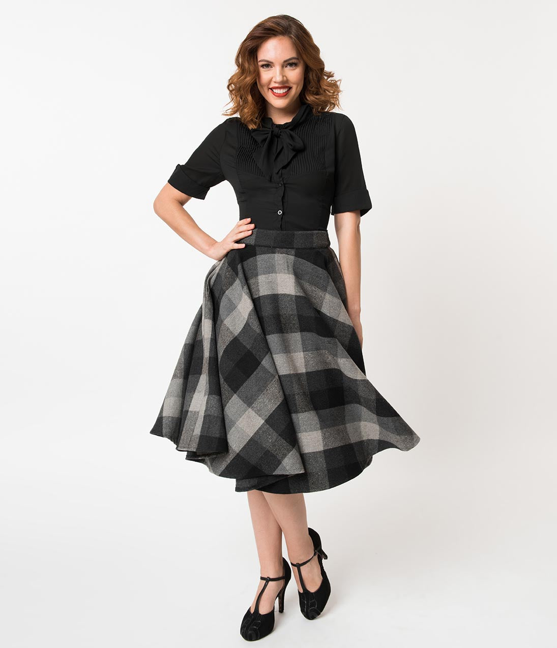 50s Skirt Styles | Poodle Skirts, Circle Skirts, Pencil Skirts Retro Style Grey  Black Wool Checkered High Waist Sophie Swing Skirt $72.00 AT vintagedancer.com