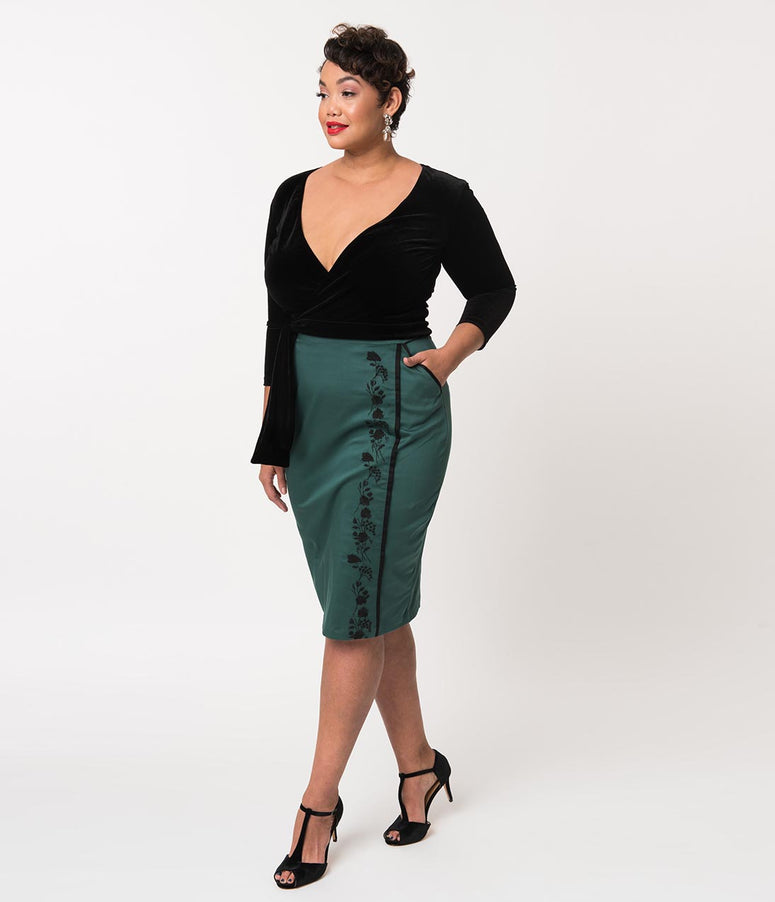 Plus Size Emerald Green Cotton Embroidered Quisha High Waist Pencil Skirt