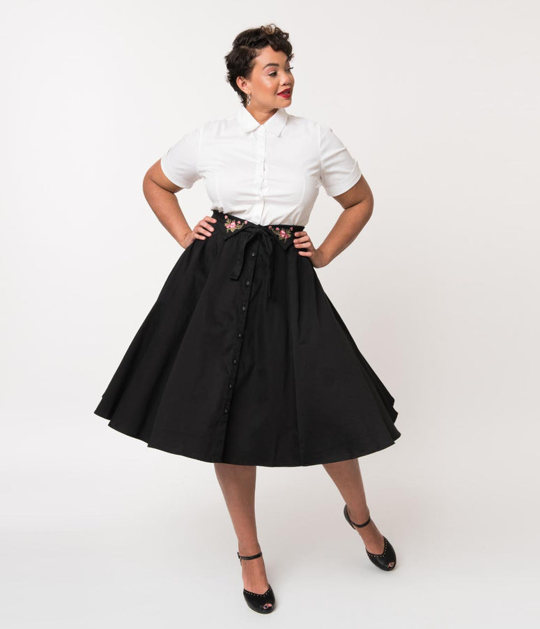 Plus Size Vintage Style Black Cotton Button High Waist Paulette Swing Skirt