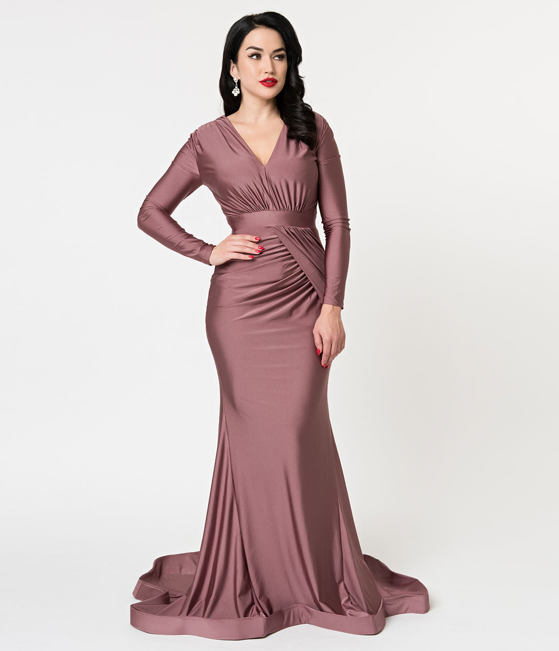 1930s Evening Dresses | Old Hollywood Dress Mauve Stretch Long Sleeve Modest Sheath Gown $132.00 AT vintagedancer.com