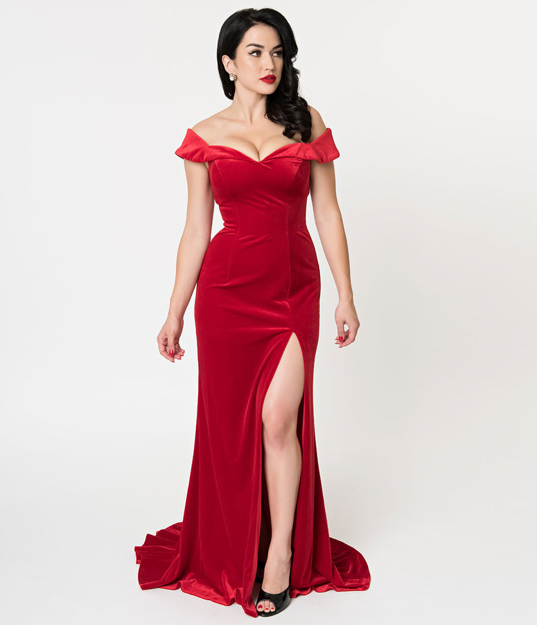Red Velvet Off Shoulder Neckline Cap Sleeve Gown